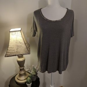 Rose & Olive Gray Shirt with Metal Accents